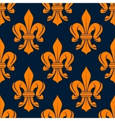 Seamless victorian orange fleur-de-lis pattern vector