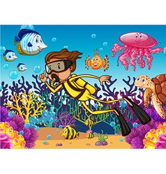 Diver diving underwater with many sea animals vector