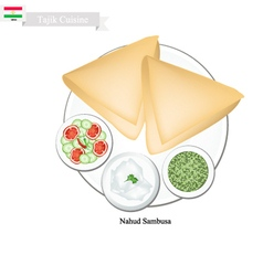 Nahud sambusa or tajik fried dumpling vector