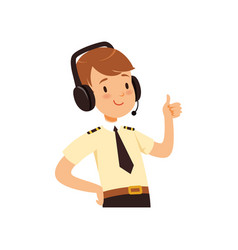 Air traffic controller character boy in uniform vector