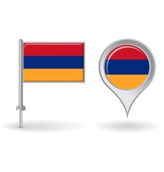 Armenian pin icon and map pointer flag vector image vector image