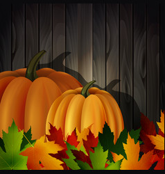 Autumn leaves and two pumpkins on wooden texture vector