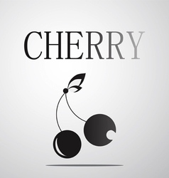 Black and white cherry logo vector