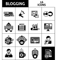 Blogging And Media Icons Set vector image