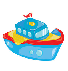 Cartoon boat on white background a toy ship for vector