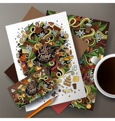 Cartoon cute hand drawn doodles coffee vector