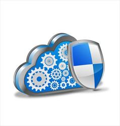 Cloud computing with security shield vector image