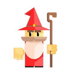 Cute cartoon gnome in a red hat with a staff in vector