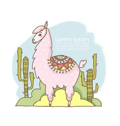 Cute cartoon lama alpaca hand drawn vector