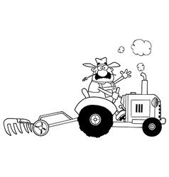 Farmer on tractor vector image