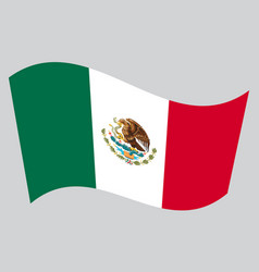 Flag of mexico waving on gray background vector