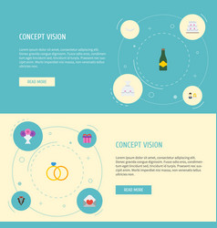 Flat icons fizz card engagement and other vector