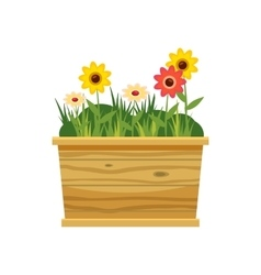 Flower bed icon cartoon style vector
