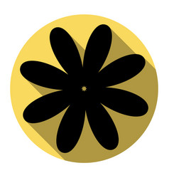 Flower sign flat black icon vector
