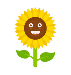 flower with smiley face smiling sunflower vector image
