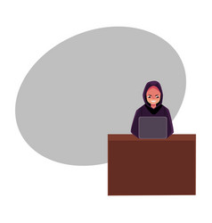 Hacker in black hoodie using laptop computer vector