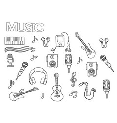 Hand drawn music set coloring book page template vector