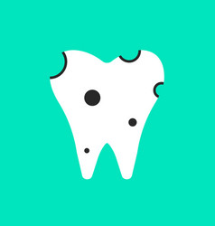 holey white tooth icon vector image vector image