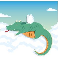 lazy dragon cartoon vector image