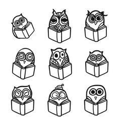 Owls hand drawn set vector