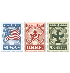postage stamps collection vector image vector image