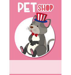 Poster design for petshop with cat wearing hat vector