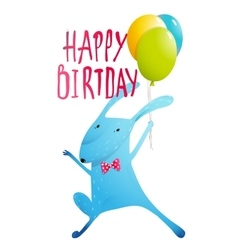 Rabbit greeting happy birthday card for children vector