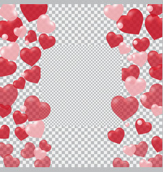 Red and pink hearts translucent located on both vector