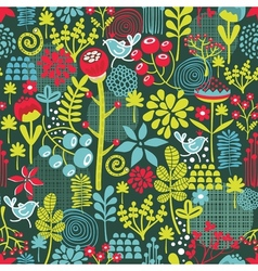 Seamless texture with cute birds and flowers vector image vector image