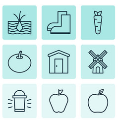Set of 9 agriculture icons includes taste apple vector