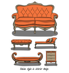 set of furniture in pink and gray colors italian vector image vector image