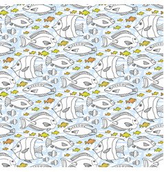 Sketch doodle fishes pattern hand drawn sea life vector