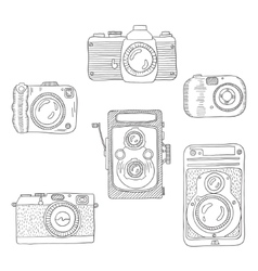 Sketch of a photo camera drawn by hand vector image vector image
