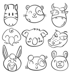 Style animal head doodle hand draw vector