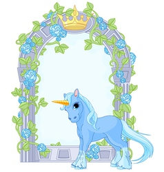 Unicorn close to flower frame vector image vector image