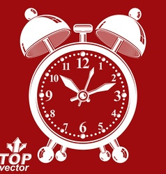 White alarm clock 3d isolated on red backdro vector