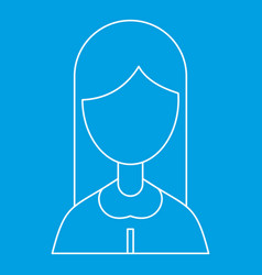Woman with long hair icon outline style vector