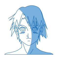 Young guy anime boy character japanese vector