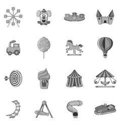 Amusement park icons set black monochrome style vector