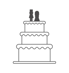 Isolated wedding cake design vector