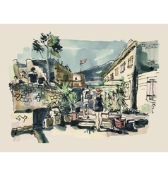 Watercolor sketching of budva montenegro old vector