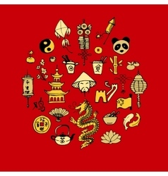 Icons of china decorated in circle vector