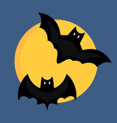 Bat cartoon flying wildlife mammal symbol spooky vector