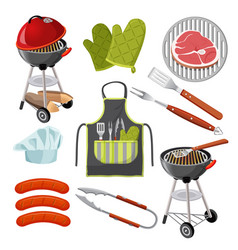 Grill mittens fresh meat on grid vector