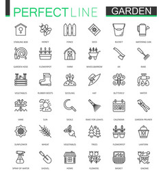 Gardening and flower thin lines web icons set vector