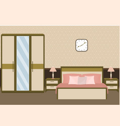 Bedroom interior in pastel colors with furniture vector
