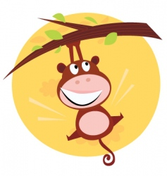 Cute monkey hanging from tree vector