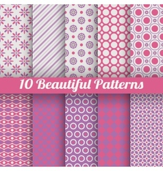 10 beautiful seamless patterns tiling pink purple vector