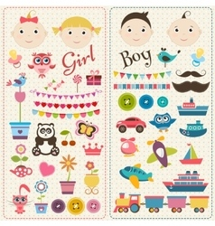 Scrapbook boy and girl set vector image