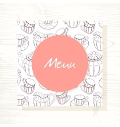 Tea room menu template with tea service in vector